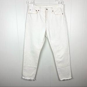 Levi's | White High Waisted Button Fly Jeans